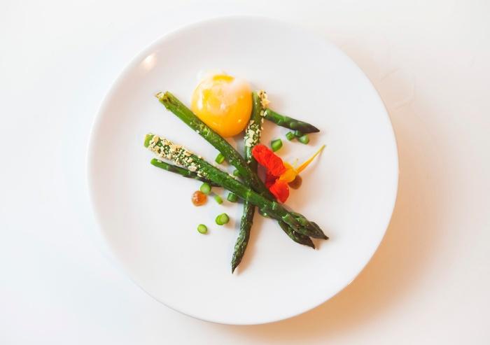 Asparagus, Almond, Smoked yolk