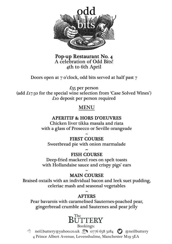 The Offal Club menu