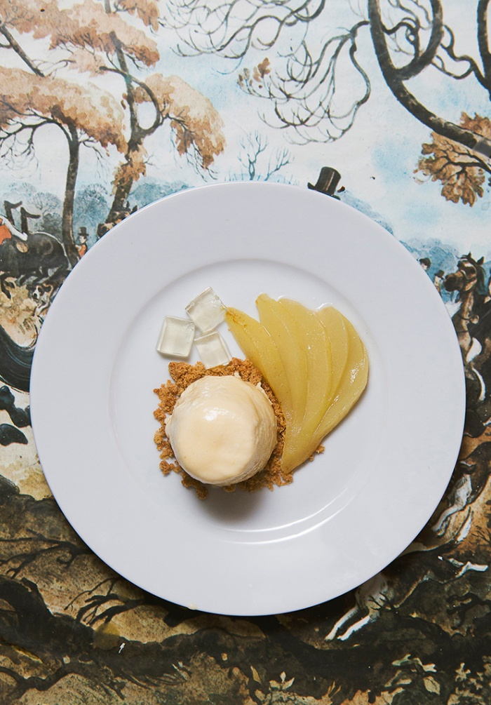 Pear bavarois with a caramelised Sauternes-poached pear, gingerbread crumble and Sauternes and pear jelly